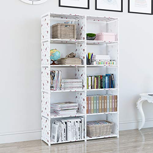 EunSung Simple Bookcase – Storage Book Media CD, DVD Folder CD 10 Lattice White