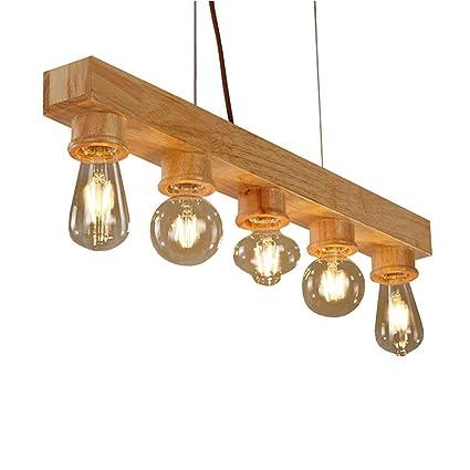 M-zmds Viga de madera rústica Edison que cuelga la luz del ...