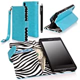 Xperia Z2 Case, Sony Xperia Z2 Case - E LV Sony Xperia Z2 flip case cover Flip Folio Wallet / Pursee full body protection Case for Xperia Z2 SMARTPHONE with 1 E LV Stylus (Zebra Blue)