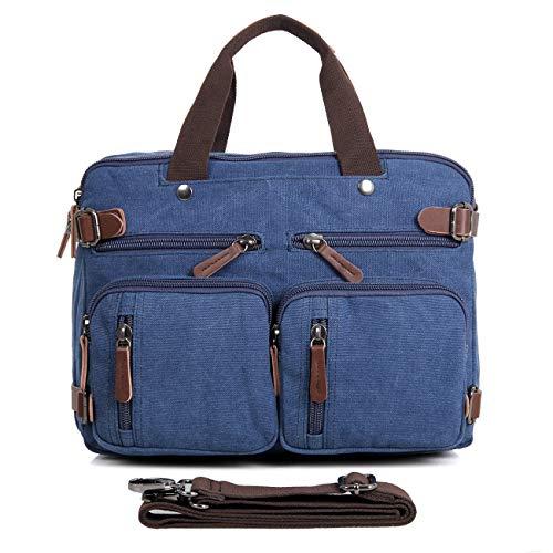 Compartment Expandable Brief Bag - Clean Vintage Laptop Bag Hybrid Backpack Messenger Bag/Convertible Briefcase Backpack Satchel for Men Women- BookBag Rucksack Daypack-Waxed Canvas Leather, Blue