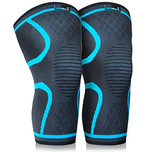 Keenhealth Compression Knee Brace – Knee Sleeve Pain Relief – for Arthritis, ACL and MCL – Support for Gym, Running, Working Out and Sports – for Men and Women (Blue, L)