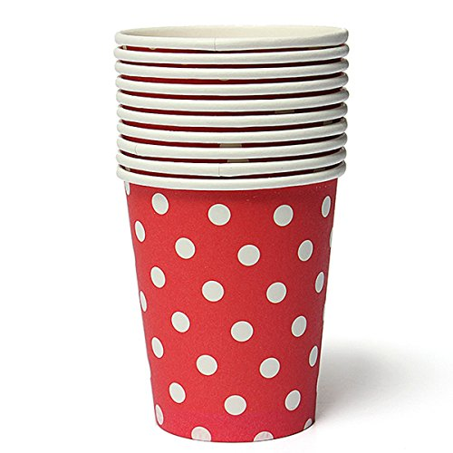 KINGSO 50pcs Polka Dots Disposable Paper Cups for Party Wedding Red