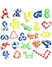 Ganowo 24 Pack Fidget Snake Cube, Mini Twist Puzzle Party Bag Fillers Toys for Kids Teens Birthday Party Favors Supplies, Random Colors