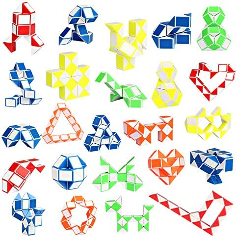[해외]Ganowo Fidget 뱀 큐브 미니 트위스트 퍼즐 파티 가방 필러 장난감 아동용 십대 생일 파티 선물 용품 / Ganowo 24 Pack Fidget Snake Cube, Mini Twist Puzzle Party Bag Fillers Toys for Kids Teens Birthday Party Favors Supplies, Random Color...