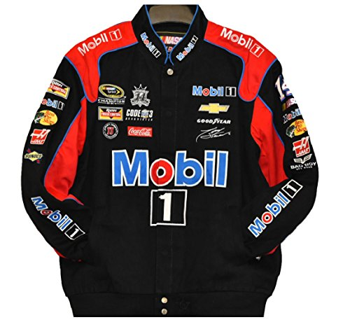 Tony Stewart Mobil 1 NASCAR Jacket Size - Black Stewart Twill Cotton Jacket