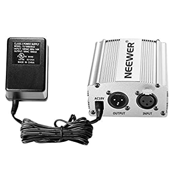 Neewer Phantom Power Kit Includes:1-channel 48v Phantom Power Supply With Adapter & Xlr Audio Cable For Any Condenser Microphone Music Recording Equipment (Silver) 2