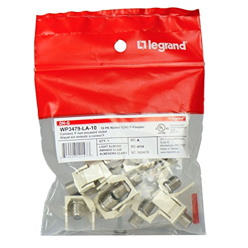 Legrand - On-Q WP3479LA10 Contractor Non-Recessed Nickel 1 GHz F-Connector (Pack of 10), Light Almond Almond F Connectors
