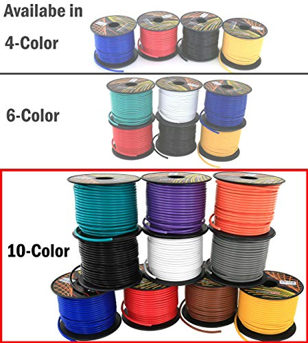 (16 Gauge Copper Clad Aluminum Low Voltage Primary Wire 10 Color Comb 100 feet Roll (1000 ft total) For 12 Volt Automotive Trailer Harness Car Stereo Amplifier Wiring. Also in 4 or 6 Color Pack)