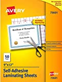 Avery Self-Adhesive Laminating Sheets, 9 x 12 Inch, Permanent Adhesive, 50 Clear Laminating Sheets
