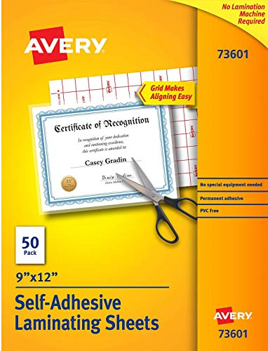 Avery Self-Adhesive Laminating Sheets, 9 x 12 Inch, Permanent Adhesive, 50 Clear Laminating Sheets (73601)