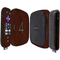 Skinomi TechSkin - Roku 4 Dark Wood Full Body Skin / Front & Back Wrap Clear Film / Ultra HD and Anti-Bubble Invisible Shield