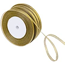 Feyarl 1/4-inch Wide by 4 rolls Premium Glitter Metallic Sparkle Ribbon for Crafters, Wedding, Christmas Decoration, Gift Wrap, Card Making, Hair Bows, Floral Projects (gold)