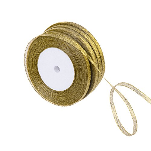 - Feyarl 1/4-inch Wide by 4 Rolls Premium Glitter Metallic Sparkle Ribbon for Crafters, Wedding, Christmas Decoration, Gift Wrap, Card Making, Hair Bows, Floral Projects (Gold)