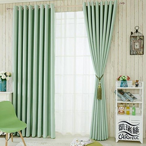 Jasmine Living Curtains Bedroom Drapes Shade Cloth Simple Modern American Linen Floor Solid Color Environmental Protection-Green 350x270cm(138x106inch)