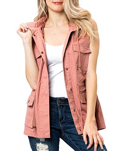 Safari Jacket Dress - YOKO SHOP Womens Versatile Utility Light Weight Miltary Anorak Safari Jacket-Mauve-L