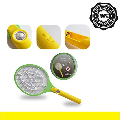 Marketworldcup-Electric Mosquito Fly Swatter Pest Bug Wasp Zapper Racket DC Power AA Batteries