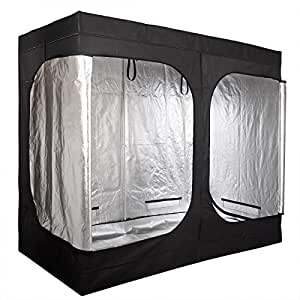 "Grow Tent 2 Door Hydroponic for Indoor Plant Greenhouse Black 96""x48""x78"""