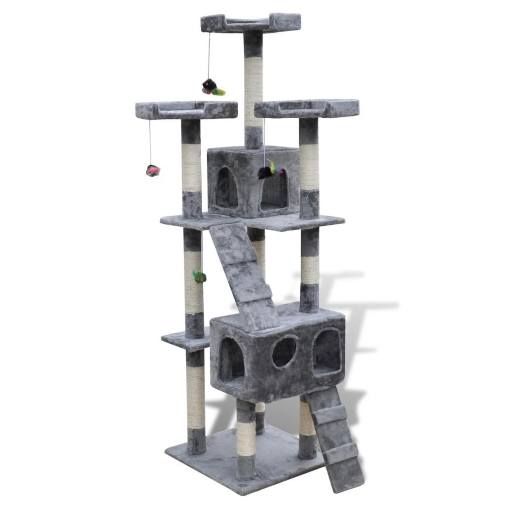 vidaXL Cat Tree Scratching Post 67'' 2 Condos Gray Tower Play Gym Pet Furniture Toy