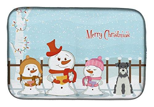 Caroline's Treasures BB2385DDM Merry Christmas Carolers Miniature Schnauzer Salt and Pepper Dish Drying Mat, 14 x 21
