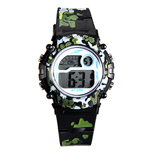 (Kids Camouflage Digital LED Multi-Function Military Outdoors Wristwatch (3 Colors) (Black))