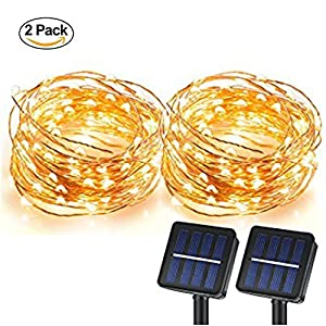 Magictec Solar String Lights, 100 LEDs Starry String Lights, Copper Wire solar Lights Ambiance Lighting for Outdoor, Gardens, Homes, Dancing, Christmas Party 2 pack