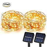 Cheap Magictec Solar String Lights, 100 LEDs Starry String Lights, Copper Wire solar Lights Ambiance Lighting for Outdoor, Gardens, Homes, Dancing, Christmas Party 2 pack