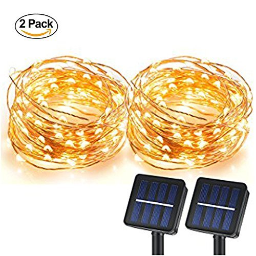 Solar String Lights, Sunlitec 100 LEDs Starry String Lights, Copper Wire solar Lights Ambiance Lighting for Outdoor, Gardens, Homes, Dancing, Christmas Party 2 pack