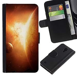 Ihec-Tech / Flip PU Cuero Cover Case para Samsung Galaxy S4 IV I9500 - Planets In Space