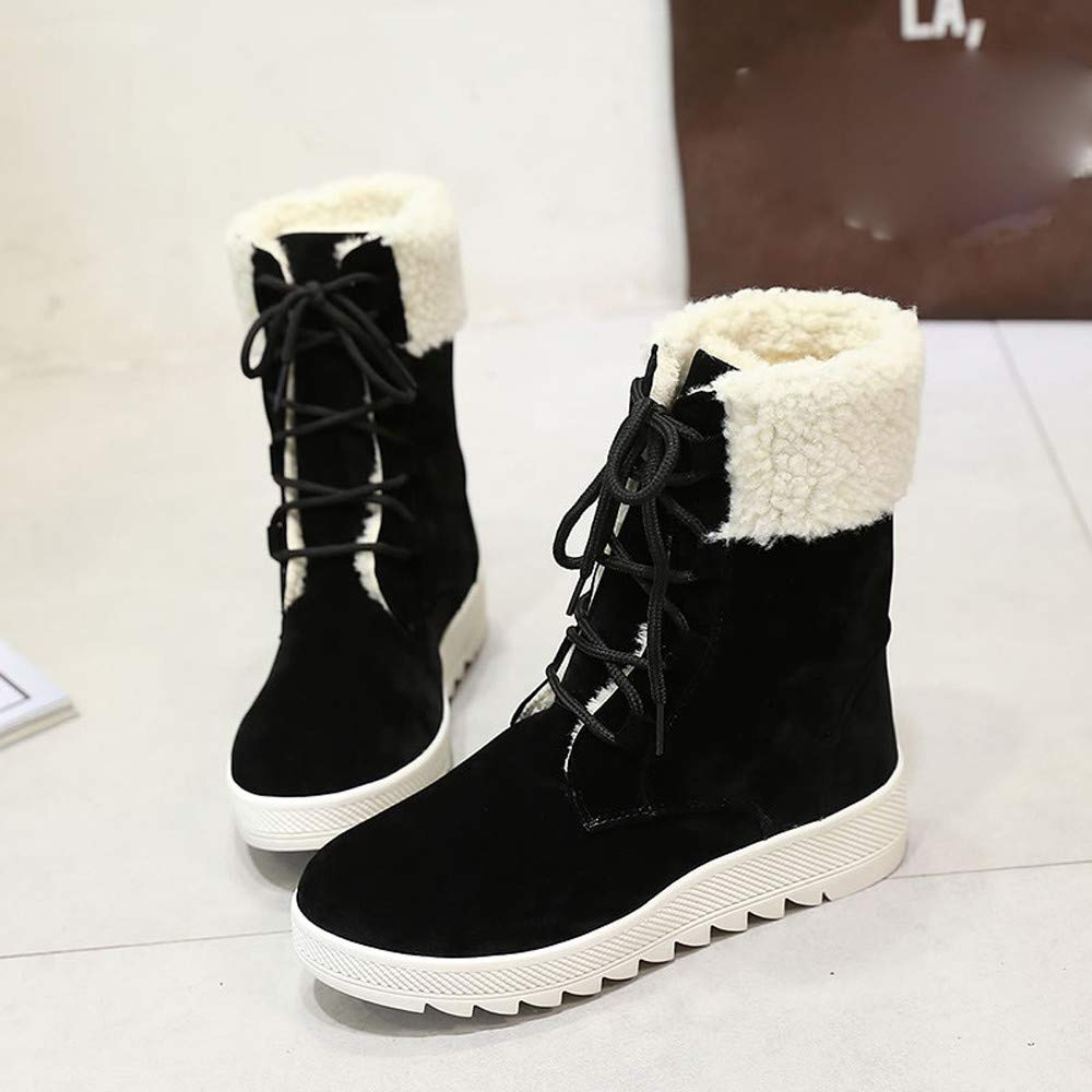 AgrinTo Women Snow Boots Winter Flat Workout Booties Mid Calf Boots Ankle Boots Footwear Women Boots Ski Shoes