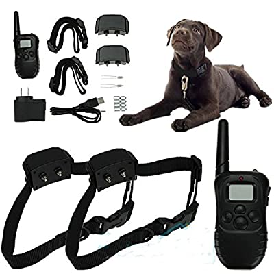 Rechargeable Waterproof LCD 100LV Level Shock Vibra Remote 2 Dog Training Collar from Bark Collars