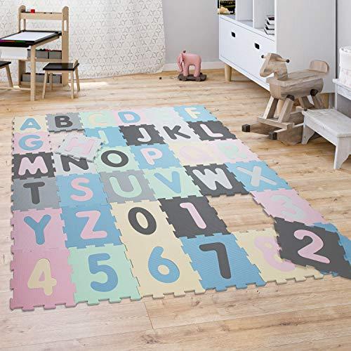 Puzzelkleed Speelkleed Kinder Kleed Cijfers Hoofdletters Pastel 36 Puzzelstukjes, Maat:32×32 cm x 36 stuks, Kleur…