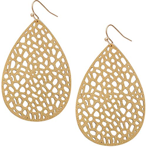 Humble Chic Vegan Leather Earrings for Women - Teardrop Leaf Dangle Statement Filigree Dangling Lightweight Boho Vintage-Style Drops, Gold-Tone Teardrop, Metallic Yellow