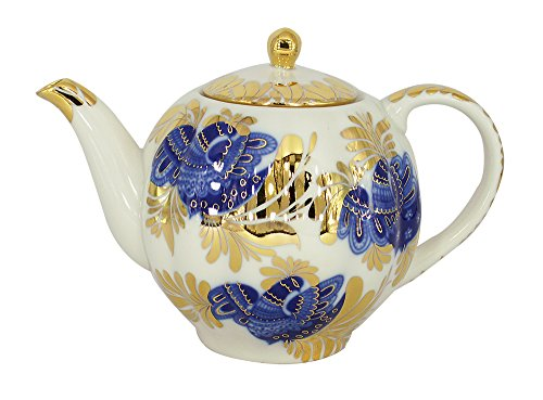 Lomonosov Porcelain Teapot Tulip Golden Garden 3 Cups 20 oz/600 ml