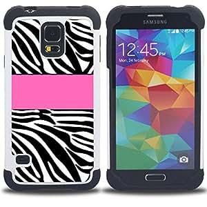 """SAMSUNG Galaxy S5 V / i9600 / SM-G900 - 3 en 1 impreso colorido de Altas Prestaciones PC Funda chaqueta Negro cubierta gel silicona suave (Línea Modelo rosado Negro Blanco"""")"""