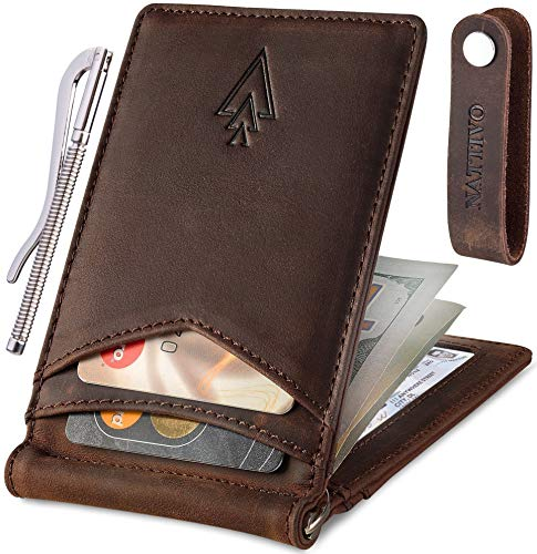 Men's Leather RFID Money Clip Slim Wallet with Leather Keychain (Coffee Brown, Crazy horse leather)