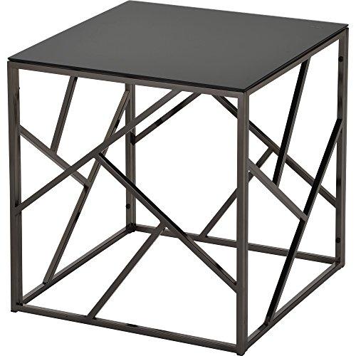 Worldwide Homefurnishings Inc. Giada Black Glass and Metal Accent Table Black Black Finish, Nickel - Glasses Giada