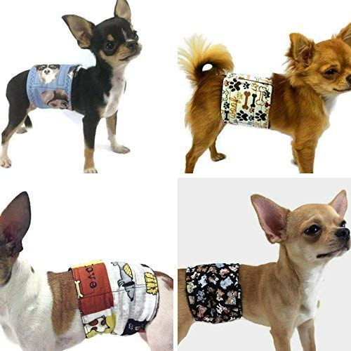 The Dog Belly Bands 4-Pack Cute Paws