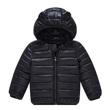 bf926d6d9 Amazon.com  QCHENG Boys  Girls  Winter Lightweight Hooded Puffer ...