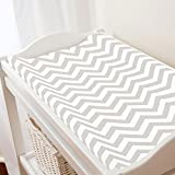 Carousel Designs French Gray Chevron Changing Pad Cover - Organic 100% Cotton Change Pad Cover - Made in The USA