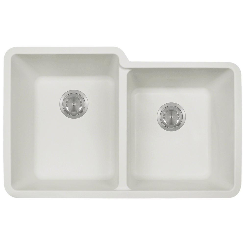 801 White Undermount Offset Double Bowl Quartz Kitchen Sink