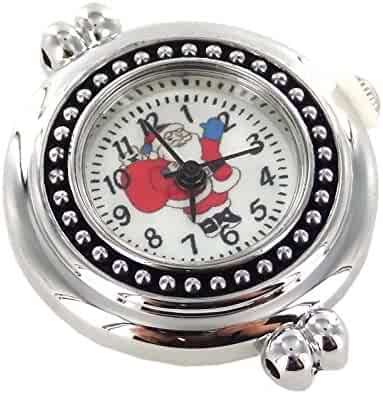 "Linpeng Interchangeable Jewelry Quartz Santa Claus-Size 1""-Silver & Black Watch Face, 1"