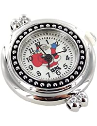 "Interchangeable Jewelry Quartz Santa Claus-Size 1""-Silver & Black Watch Face, 1"", Silver/Red/Black"