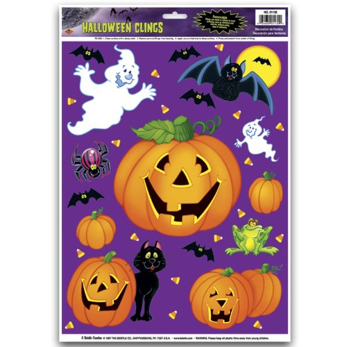 pumpkin patch clings party accessory 1 count 12sh - Halloween Window Clings