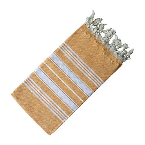 Dandelion - Basic Pattern - Naturally-Dyed Cotton Turkish Towel Peshtemal - 71x39 Inches - Apricot Orange