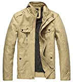 Image of Wantdo Men's Cotton Stand Collar Lightweight Front Zip Jacket US X-Large Khaki