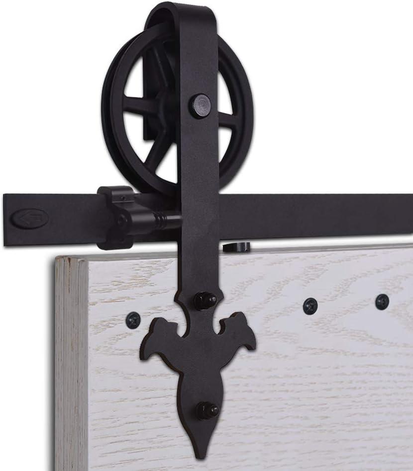 CCJH Kit Rail Coulissant Armoire Placard Rail Porte Coulissante 168cm//5.5ft Noir Flower Shape Big Wheel Hanger Convient /à 1 Porte Large de 84 cm