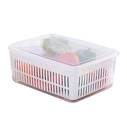 Refrigerador transparente Caja de almacenamiento de frutas y verduras Cesta de drenaje de cocina Lavabo de