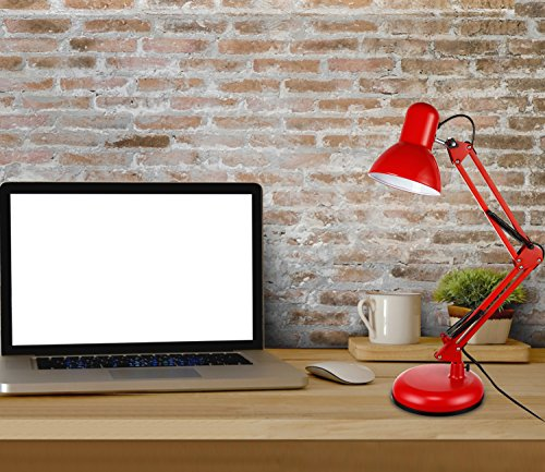 TORCHSTAR Metal Swing Arm Desk Lamp, Interchangeable Base Or Clamp, Classic Architect Clip On Table Lamp, Multi-Joint, Adjustable Arm, Red Finish by TORCHSTAR (Image #4)