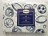 Kieran Boys Sports Ball Full 4 Pc. Sheet Set Navy Blue on White Polyester Baseball Football Soccer
