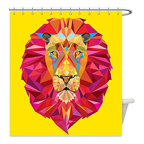 Diy Lion Mane Dog Costume (Liguo88 Custom Waterproof Bathroom Shower Curtain Polyester Colorful Zoo Decor African Animals Geometric Diamond Face Lions Mane Decor Decorative bathroom)